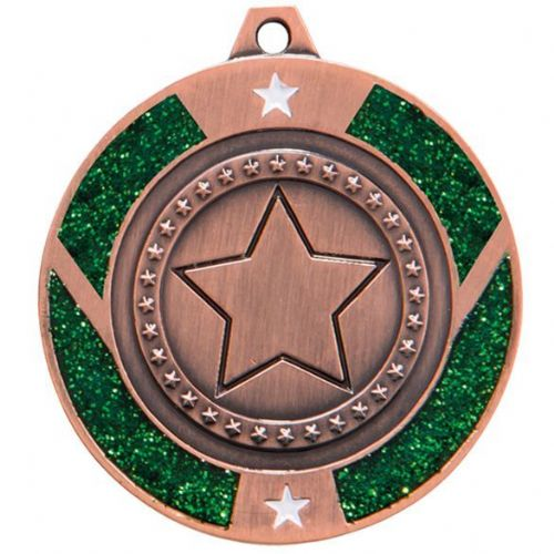 Glitter Star Medal Bronze & Green 50mm